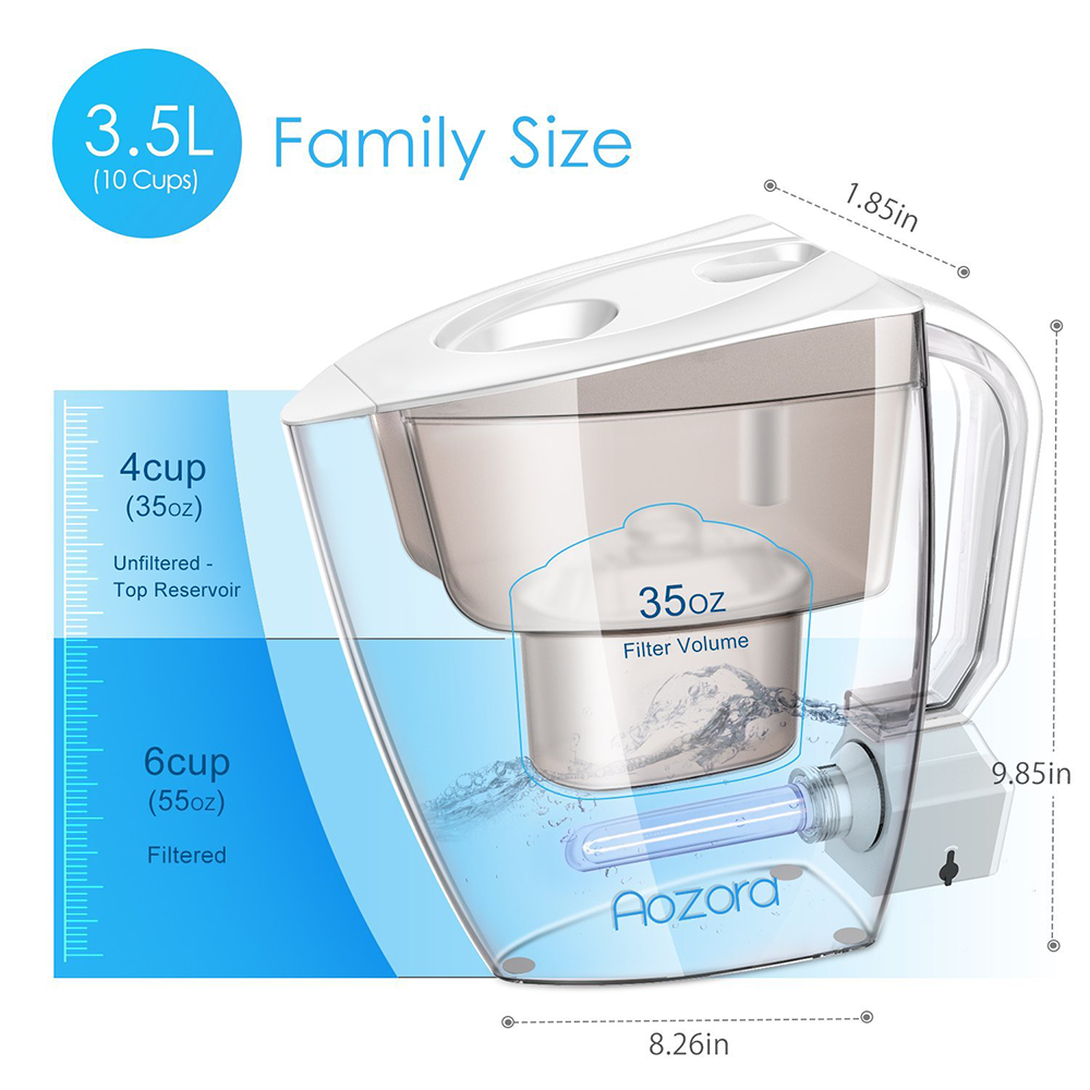 Aozora Uv Disinfection Light Water Filter Pitcher